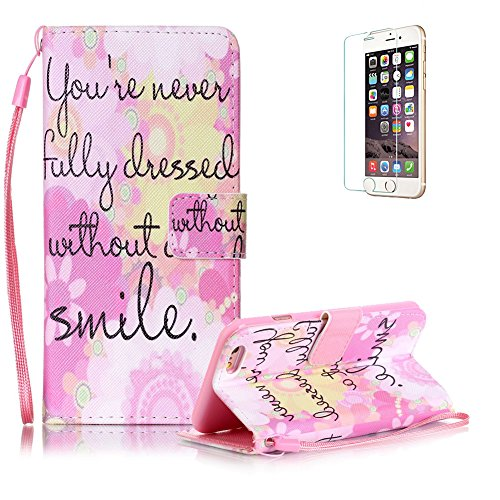 Custodia iphone 6 iphone 6S in Pelle,Funyye Smile Disegni Elegante