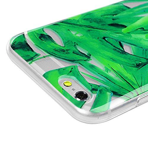 iPhone 6/6s Hülle Badalink Gemalt TPU Case Cover IMD Ultraslim Katze Handyhülle Schutzhülle Silikon Bumper Schutz Tasche Schale Transparent Antikratz Backcover grüne Blätter