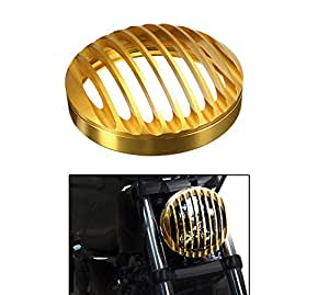 Speedwav Harley Style Headlight Cover Grill-Vertical Brass- For Royal Enfield Bikes