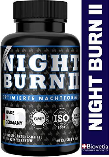 NIGHT BURN 2 Fatburner für die Nacht, Abnehmen + Appetitzügler + Schlafsupport, für Diät im Schlaf, die Nummer 1 Rezeptur aus den USA, Made in Germany nach ISO und HACCP, 60 Kapseln