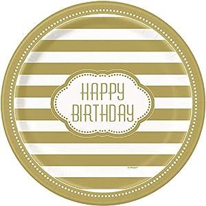 Unique Party- Platos de Papel Fiesta de Cumpleaños, 8 Unidades, Color dorado, 23 cm (49585)