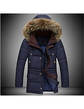 MHGAO Capa de la chaqueta con capucha del invierno de Down largo y grueso cuello de la piel de los hombres , deep...