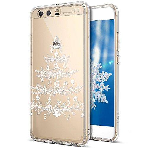 Kompatibel mit Huawei P10 Hülle Schutzhülle Silikon Transparent mit Weihnachten Schneeflocke Hirsch Muster Handyhülle Durchsichtige Backcover TPU Case Tasche Etui Bumper,Weiß Weihnachten Weihnachten Spiegel