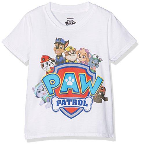 Paw Patrol Jungen Shield Characters T-Shirt, Weiß (White), 5-6 Jahre (Hersteller Größe:S)