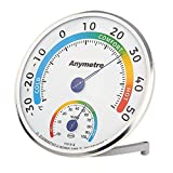 Green Joy Thermomètre Hygromètre Intérieur Exterieur Thermo Hygromètre Mural Chambre Voyage moniteur de température et d'humidité avec Affichage Cadran Digital Rond Argent