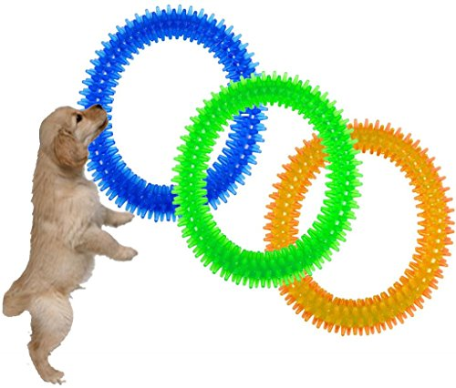 PET DOG DOGGY PUPPY RUBBER DENTAL PLAY RING CANINE ORAL HEALTH FETCH CHEW TOY