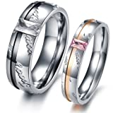 OPK New Fashion Jewelry Love Forever W/cubic zirconia stone Stainless Steel Wedding Band/Anniversary/Engagement/Promise/Couple Ring Best Gift!