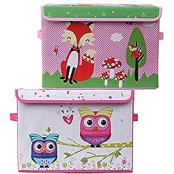 UberLyfe Blue & Pink Foldable Storage and Toy Box - Fox & Owl Design (KSB-1081-1083)