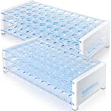 E-CHENG Test Tube Rack, 50 Hole Detachable Plastic Test Tube Rack for 13mm& 16mm Test Tubes, 2 Pack, Light Blue