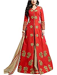 ShreeBalaji Women's Red Cotton Silk Patiala Salwar Suit Set(SBC1105_Red_FreeSize)