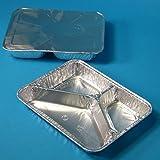 500 Aluschalen Assietten Aluminiumschalen Aluminium Menüschalen ECO dreigeteilt 3-geteilt tief 227x177x38mm mit Alu Deckel