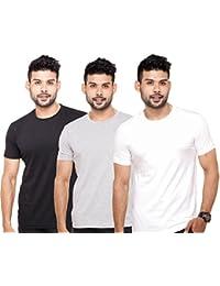 ADYK Men's Basic Cotton Round Neck Half Sleeve Solid T-shirts - Pack Of 3