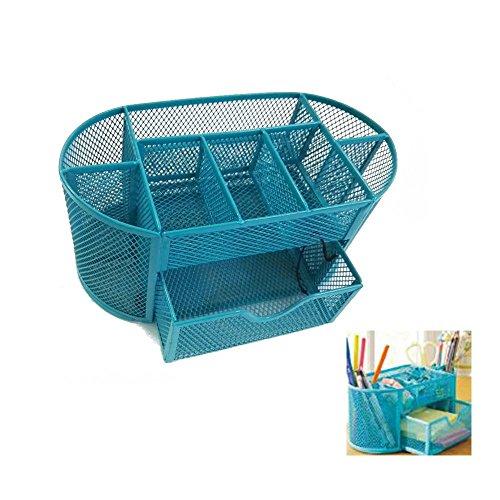 Rechel Schreibtisch-Ordnungssystem aus Drahtgeflecht, mit Stifthalter, Metall, mit 9 Fächern 22*11*11cm blau (Square-neck Floral)