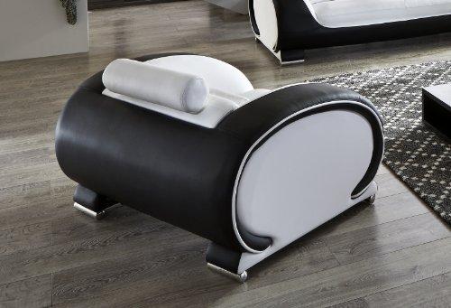 SAM® Design Garnitur Vigo 3 teilig in Weiß / weiß / schwarz futuristisches Design by Ricardo Paolo 3-Sitzer Couch 230 cm 2-Sitzer 152 cm und Sessel 108 cm mit Getränkehalter Kopfstützen verstellbar angenehme Polsterung montiert Auslieferung durch Spedition - 6
