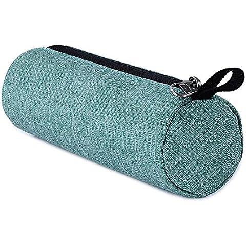 Material de poliéster verde redondo cremallera cierre creativo breve estudiante lápiz bolsa portátil práctico puede ser lavado alta calidad bolsa de almacenamiento de papelería