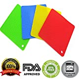 Silicone Pot Holder,BPA Free Mat,4 PCS Square Mat, Hot Pads, Perfect For Modern Home Decor, Silicone Heat Resistant Coasters,Cup Insulation Mat, Tableware Insulation Pad Potholders Insulation Non-slip Mat,Non Slip, Flexible, Durable, Heat Resistant,Dining Table Mats Set