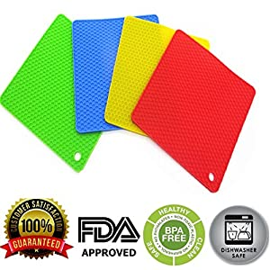 Sanskriti Premium Products BPA-free Silicone Heat Resistant Non Slip Durable Mats (Multicolour, 12×12-cm) -4 Pieces