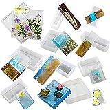 Musykrafties - Moldes cuadrados y rectangulares de resina geomátrica de silicona para hacer posavasos y diseño interior de joyería, 11 unidades