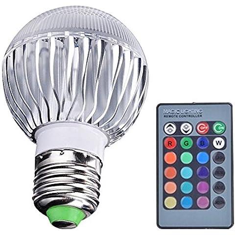 Sanwood - Bombilla LED E27 que cambia de color con mando a distancia (15W, RGB)