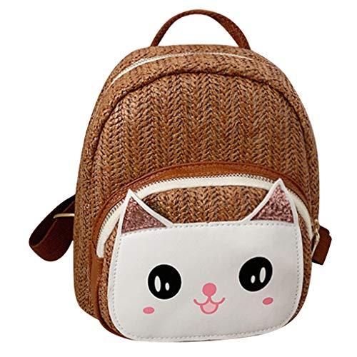 Mitlfuny handbemalte Ledertasche, Schultertasche, Geschenk, Handgefertigte Tasche,Mode Eltern-Kind-Outdoor Woven Cat Umhängetasche Messenger Bag Rucksack
