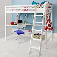 Cabin Bed High Sleeeper with Desk in WHITE , Bunk Bed - HIGH Sleeper W