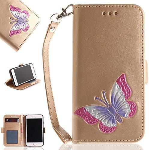 Tasche Hüllen Schutzhülle - case cover echtes Leder en PU Von Hand bemalt Impressum Schmetterling gold für Apple iPhone 7,iPhone 8 (Apple Bemalt Von Hand)