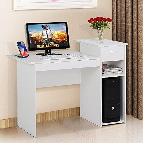 Yaheetech Computertisch, Schreibtisch mit Schublade und Ablagen, Bürotisch, PC-Tisch für Home Office, Weiß -