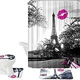 Bearbae 16pièces Chic Gris Paris Tour Eiffel imperméable Rideau de douche Ensemble de tapis de bain Ensemble de tapis de bain + contour + Tapis pour abattant Peach Kiss lèvres Imprimé