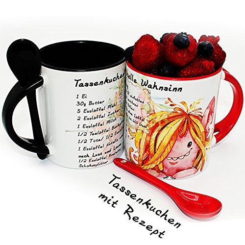 2er-Set | Tassenkuchen mit Rezept in 5 Minuten, Löffeltasse, Kaffee- oder Tee-Tasse | mug cake | Mikrowellenkuchen - Geschenk zum Valentinstag - Geburtstag - perfekte Geschenkidee