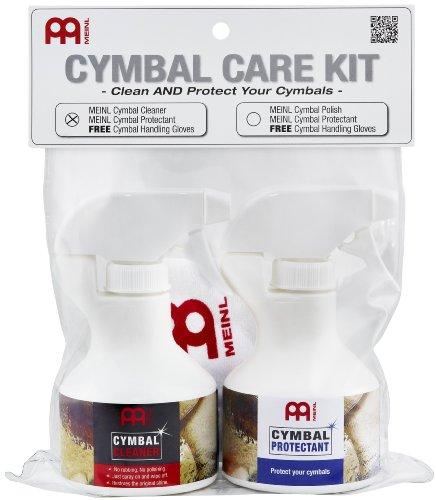 Meinl Cymbals MCCK-MCCL Becken Pflegeset mit 250ml Beckenreiniger und 250ml Oberflächenversiegelung inklusive gratis Paar Meinl Handschuhe