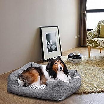 Songmics Panier lit chien 80 x 60 x 26 cm Dog Bed Coussin Matelas pour chien chats PGW26G
