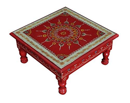 Lalhaveli Peints à la Main en Bois escabeau Pouf Petite Table Couleur Rouge 28 x 28 x 14 cm