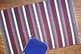 Mehrfarben Gestreifter Teppich. Flach Gewebter beidseitig verwendbarer Teppich aus 100% purer Bio-Baumwolle & natürlichen Färbemitteln. Größe: 120x180, Code # 02698