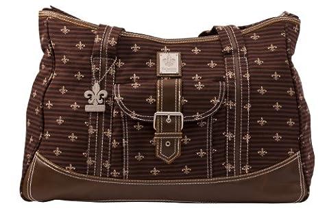 Kalencom Fashion Diaper Bag, Changing Bag, Nappy Bag, Mommy Bag, Canvas Bag, Weekender Bag (Fleur De Lis Chocolate)