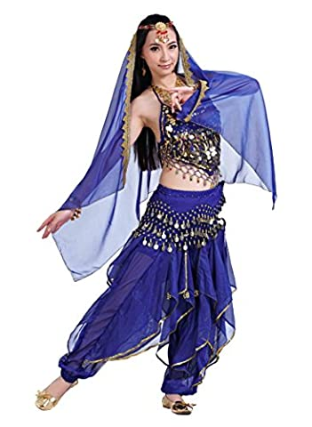 Seawhisper Peppers rotary dance pants 128 coins waist chain belly dance costume belly dance performance set Halter Top Pants Belt Trouser Harem Pants Genie golden sequin belt head-chain Mantilla Veil (free size, royal blue