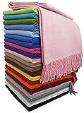 STTS International Baumwolldecke Wohndecke Kuscheldecke Tagesdecke 100% Baumwolle 130 x 170 cm sehr weiches Plaid Rio Alle Farben (Rosa)