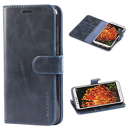 Mulbess Huawei Y6 2018 Hülle, Leder Flip Case mit Brieftasche Schutzhülle für Huawei Y6 2018 und Honor 7A Tasche, Dunkel Blau