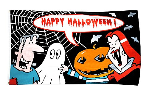 Fahne / Flagge Happy Halloween Monster + gratis Sticker, Flaggenfritze®