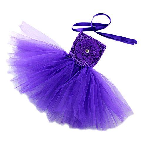 Honeystore Mädchen Spitze Prinzessin Rock Sommer Blumen Kleider für Baby Kleinkinder Kinder 0-2 Jahre alt Small Violett mit Päonien (Kind Rockstar Kostüm Ideen)