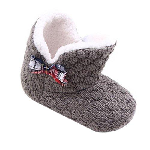 Amlaiworld Baby Kleinkind Kind Bogen Schnee Stiefel Soft Sole Prewalker Krippe Schuhe (13cm, Gray)