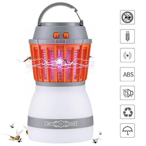 Lámpara Antimosquitos, Qcoqce IPX67 Impermeable Mata Mosquito con Luz 2 en 1 Cargar a Través de USB Mejor Solución Para Contrar Mosquitos, Moscas,Polillas, Zancudos y Más Insectos para Interiores o Exteriores.