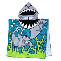 Kids Cartoon shark Beach Swim Pool Towel Toddler Baby Children Bath Shower Towel Bathrobe Hooded Poncho For 2-10 Years Old Boys and Girls