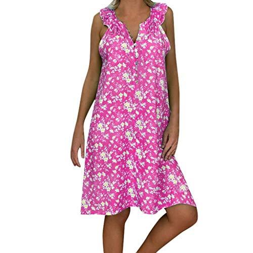 Go First Frauen Floral Maxi Kleid Ärmelloses Sommerkleid Gedruckt V-Ausschnitt Riemchen Mini Sommerkleider (Color : Rosa, Size : S) (Junioren Outfits Rosa Für)