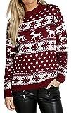 Mujeres Reindeer Snowflake Niños Navidad Madre Hija Hija Navidad 3-13 Año Jumper Tamaño Superior 36-52 (3-4 Años, Vino)