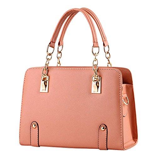 Borse a Mano per Donna in PU Pelle con Tracolla di Colore Solido Pink