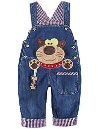 Bébé Enfant Salopette Jeans Modèle Animal Garçons Filles Denim Pantalon doux avec Bretelles Raton Laveur