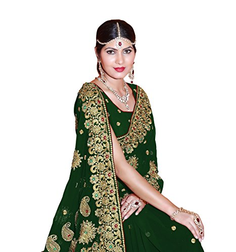 SOURBH Women's Faux Georgette Bridal Wedding Saree (4082_Green)