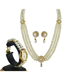 Classique Designer Jewellery Alloy Pearl Necklace Set With Pearl Watch