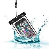Ideal Products 100% Wasserdichte. Universell einsetzbar für alle Smartphones und Handies. mit Trageschlaufe, seitliche Stoß-Verstärkung und Fenster auf beiden Seiten um Bilder im Wasser aufzunehmen.
