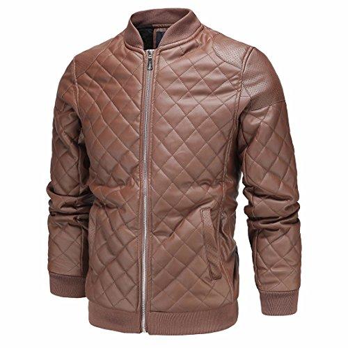 Herren Leder Kleider winter Männer Lederbekleidung von Englands Mock-Hals diamant Jacke Mantel, Braun, M (Ägypten Kleidung Für Männer)